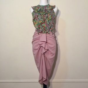 DO+BE Dusty Pink Scrunch Ruffled Long Skirt S